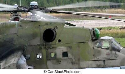 militair, air-base, helikopter