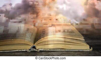 militair, book., een, boek, over, war.