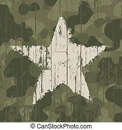 militair, camouflage, achtergrond, met, star., vector,...