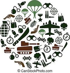 militair, cirkel, iconen