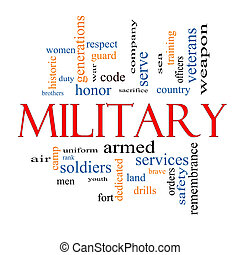 militair, concept, woord, wolk