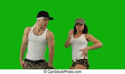 militair, dans, grijze , achtergrond