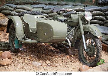 militair, fiets, motor