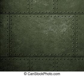militair, groen metaal, harnas, achtergrond, met, klinknagelen
