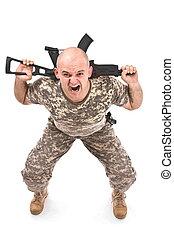 militair, man, oefening