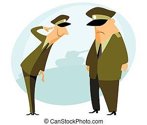 militair, officier, presteert, groet