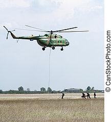 militair, operatie, helikopters