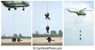 militair, operatie, met, helikopters