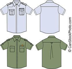 militair, overhemden, mens