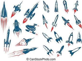 militair, raketten, schepen, raket, ruimte
