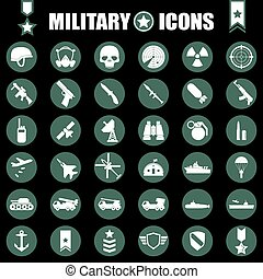 militair, set, iconen