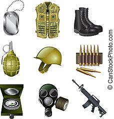 militair, set, leger, iconen