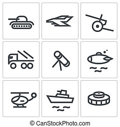 militair, set, pictogram