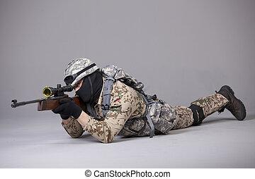 militair, sluipschutter, man, geweer