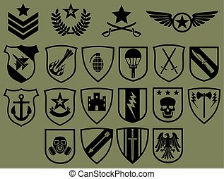 militair, symbolen, iconen, set, (army, emblems, wapenschild, collection)