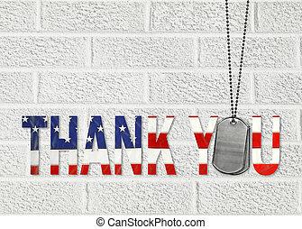 militair, u, markeringen, danken, dog