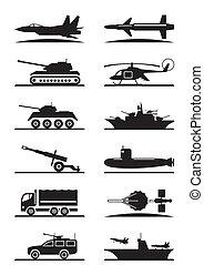 militair, uitrusting, pictogram, set