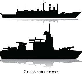 militair, vector, schepen