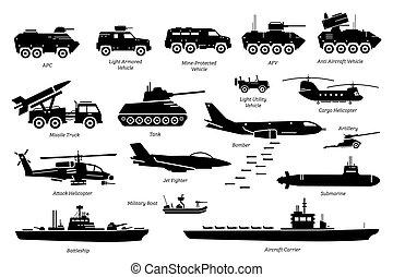 militair, vervoer, machine, set., voertuigen, pictogram, gevecht