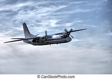militair vliegtuig, hemel