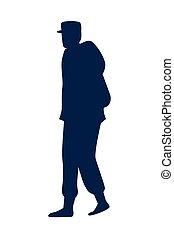 militair, wandelende, silhouette, man