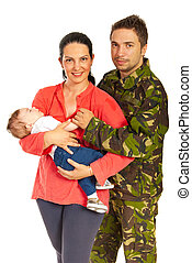 militair, zijn, gezin, man