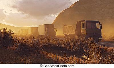 militaire, 2, désert, route, motorcade