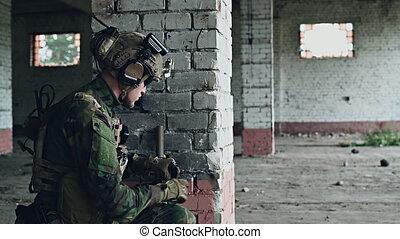 militaire, assaut, munitions, bâtiment, échouer, pendant, ...