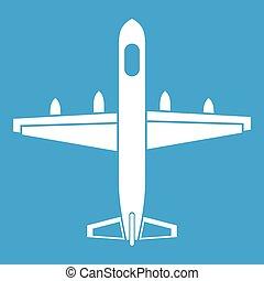 militaire, blanc, avion, icône