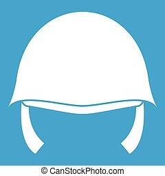militaire, blanc, casque, icône