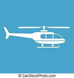 militaire, blanc, hélicoptère, icône