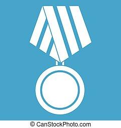militaire, blanc, médaille, icône