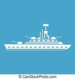 militaire, blanc, navire guerre, icône