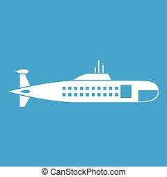 militaire, blanc, sous-marin, icône