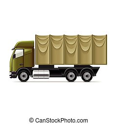 militaire, blanc, vecteur, camion, isolé