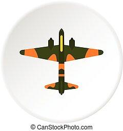 militaire, cercle, avion, icône