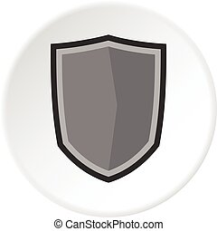 militaire, cercle, bouclier, icône