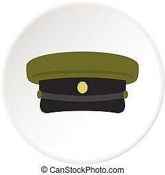 militaire, cercle, chapeau, icône