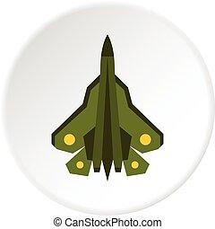 militaire, cercle, combattant, icône