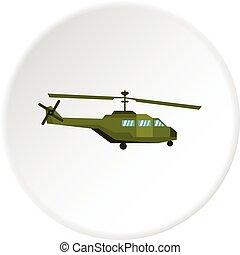 militaire, cercle, hélicoptère, icône