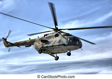militaire, ciel, hélicoptère