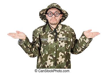 militaire, concept, soldat, rigolote
