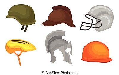 militaire, constructeur, illustration, collection, couvre-chef, athlète, casques, vecteur, cycliste, différent, chevalier