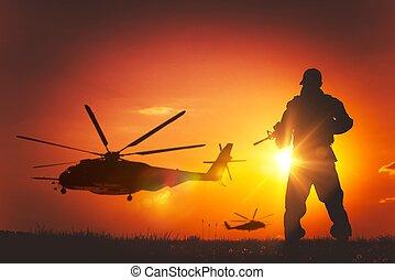 militaire, coucher soleil, mission