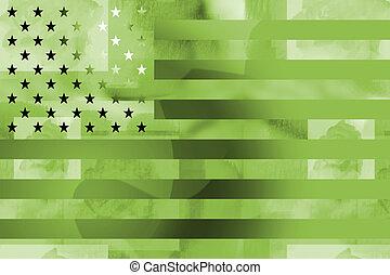 militaire, drapeau américain, appelé