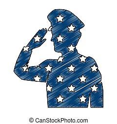 militaire, drapeau, silhouette, usa, saluer