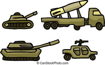 militaire, ensemble, dessin animé, guerre, véhicule