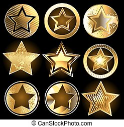 militaire, ensemble, or, étoiles
