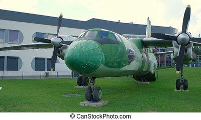 militaire, exposition, avion, vieux