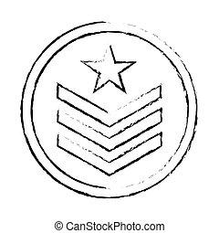 militaire, image, silhouette, emblème, icône